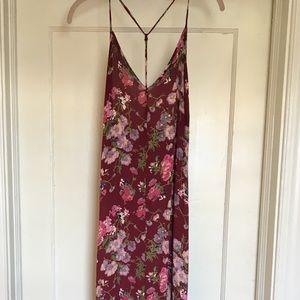 Cranberry Floral Slinky Dress